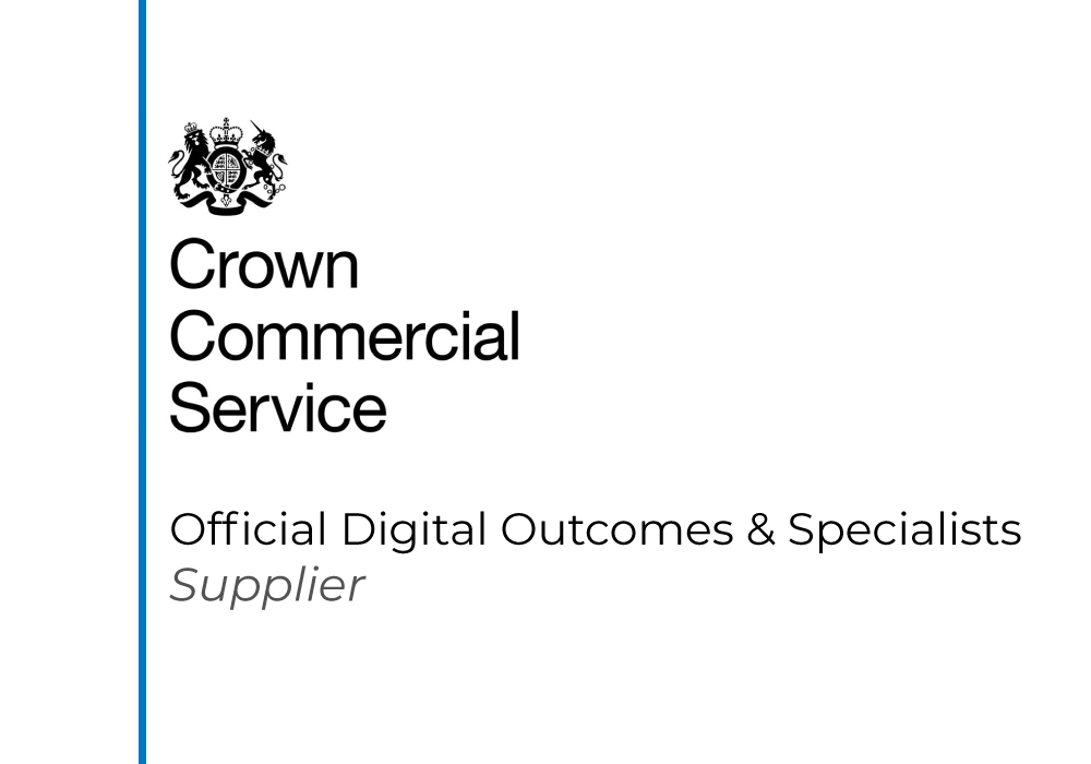 Official logo showing CMC is an accredited supplier on the Crown Commercial Service's Digital Outcomes & Specialists framework