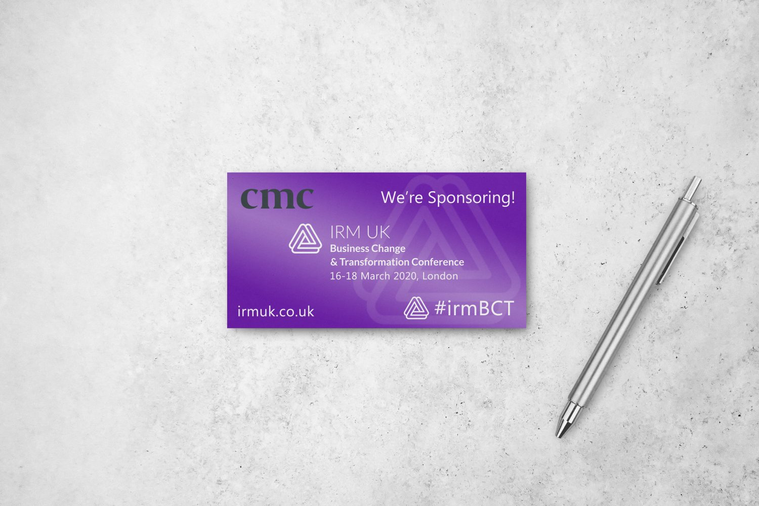 Banner publicising CMC's sponsorship of the IRM Business Change & Transformation Conference 2020
