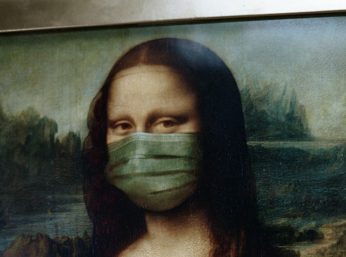Mona Lisa with face mask. Photo by cottonbro from Pexels