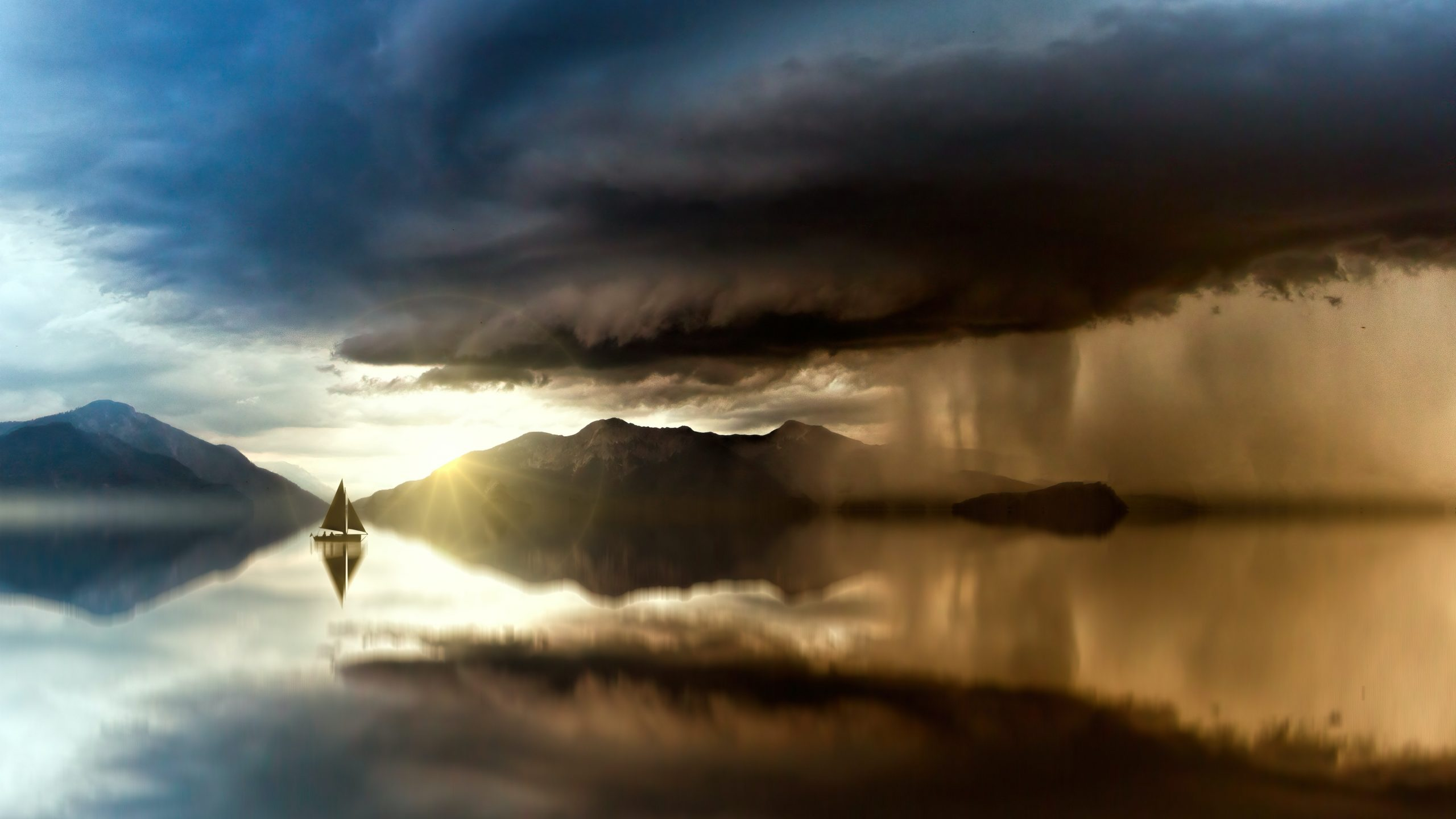 Seascape with boat showing the sun emerging after a rainstorm. Photo by Johannes Plenio from Pexels.