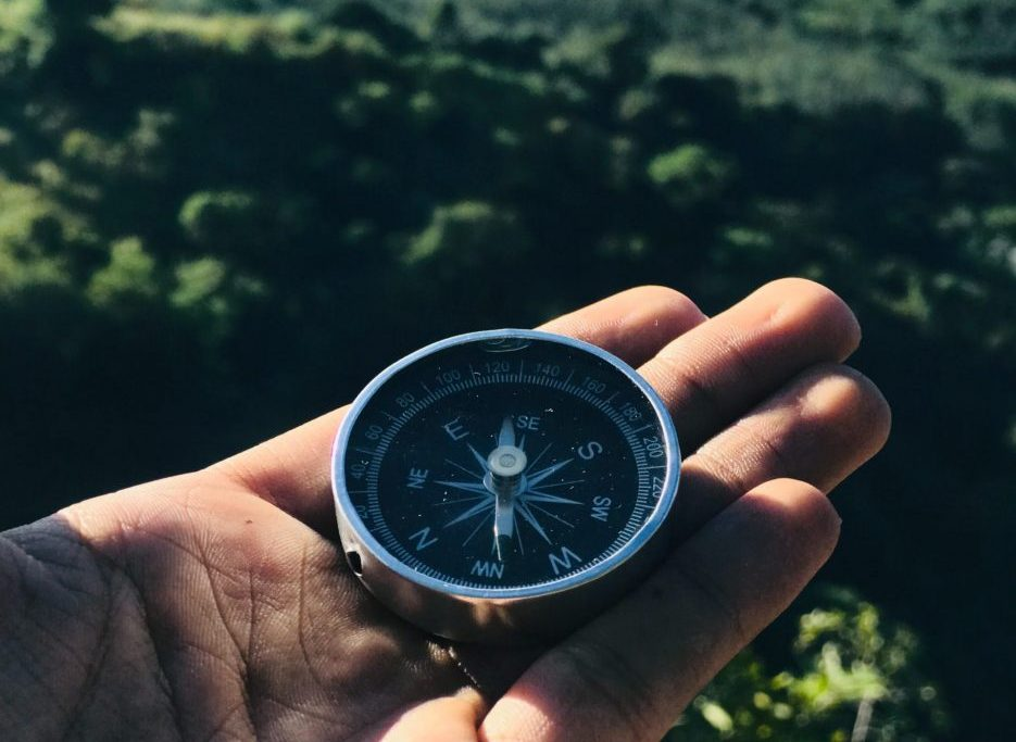 Person holding compass. Photo by Supushpitha Atapattu from Pexels
